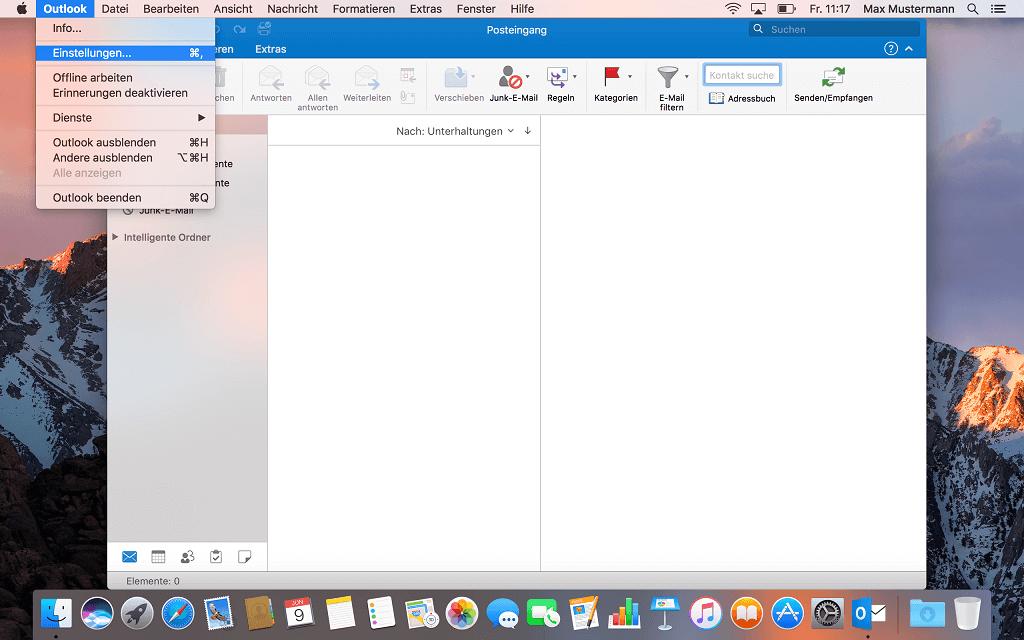 Outlook auf dem Mac - Einstellung