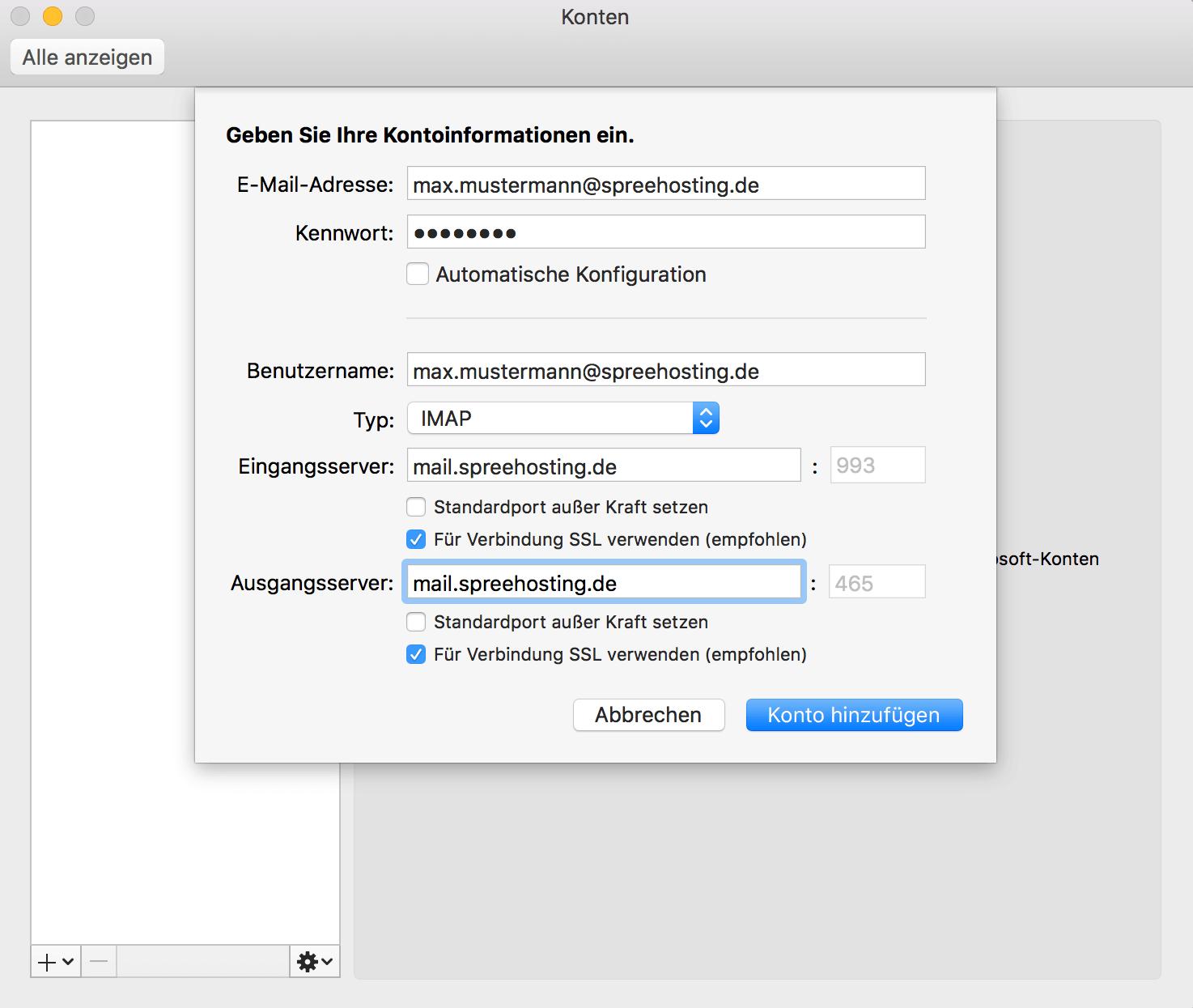 Outlook auf dem Mac - Kontoinformationen eingeben